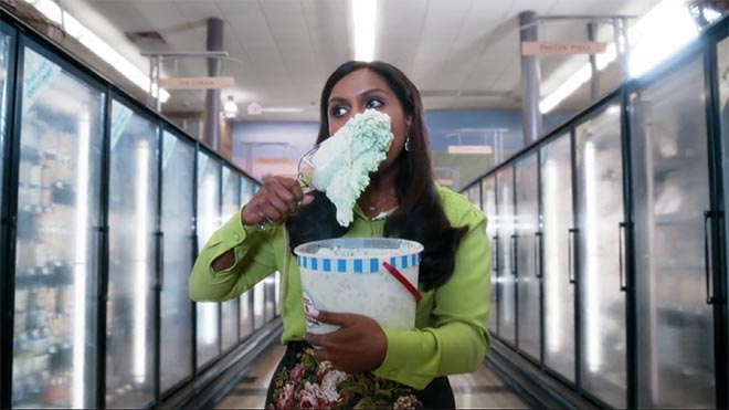 Nationwide Invisible Mindy Kaling eats ice cream