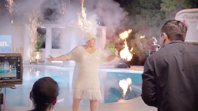 Rebel Wilson in Stan commercial on fire