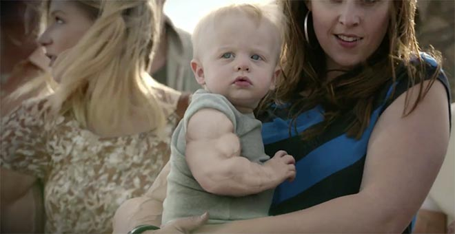 Skittles child and mother in Settle It Super Bowl ad