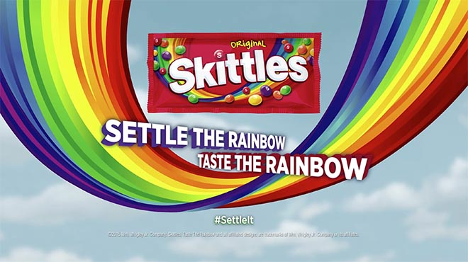 Skittles Settle The Rainbow in Settle It Super Bowl ad