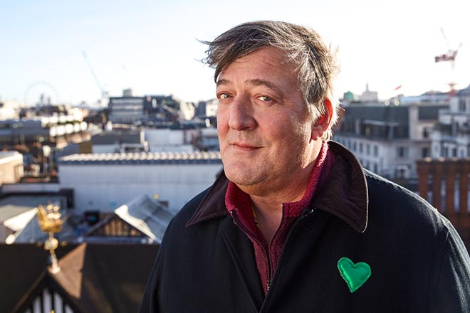 Stephen Fry with green heart