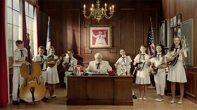 KFC Colonel Sanders and banjo group in State of Nation