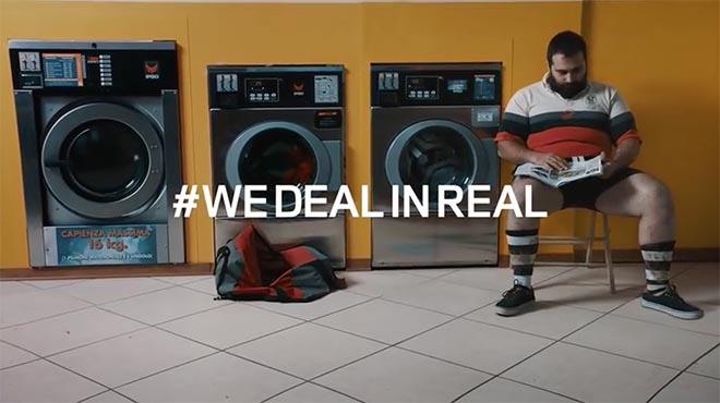 Rugby player in laundromat - Land Rover We Deal in Real commercial