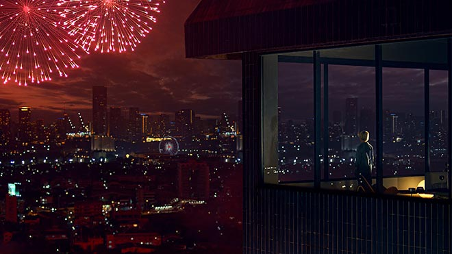 Sony Bravia Fireworks ad with viewer