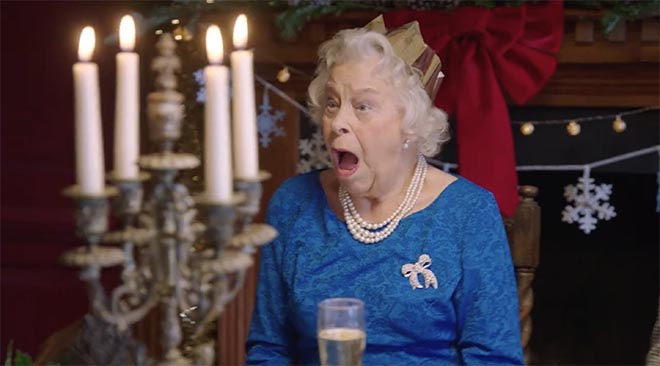 Queen Elizabeth lookalike in Asda Royals Christmas commercial