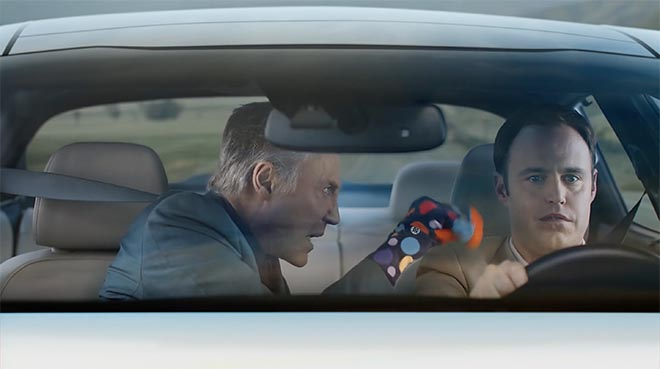 Christopher Walken with beige driver in Kia Walken Closet commercial