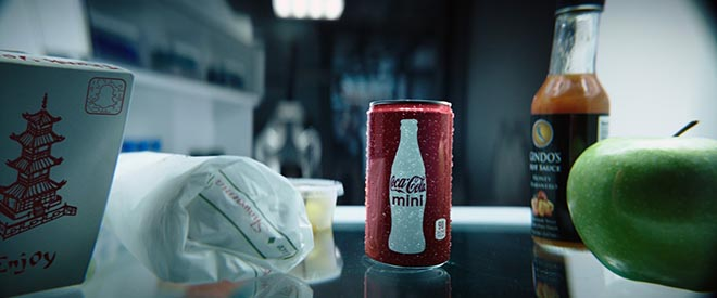 Coca Cola Mini in fridge in Super Bowl commercial