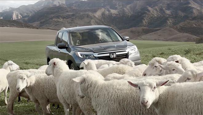 Honda Ridgeline Truck with singing sheep