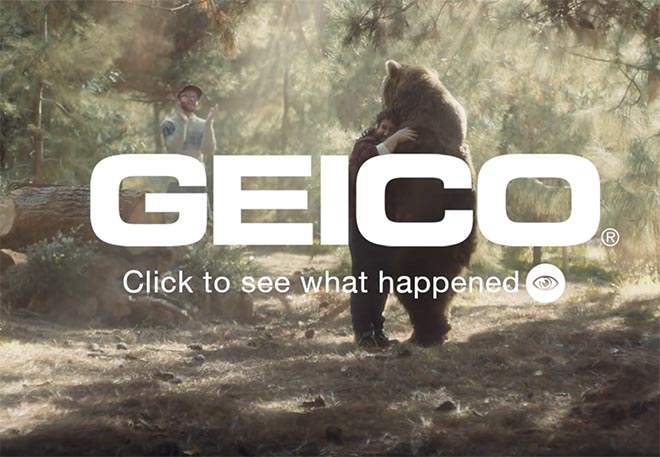 Geico Click to See What Happened - Bear Hug in Geico Fast Forward commercial