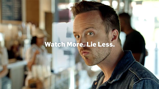 Hulu actor Aaron Paul Watch More Lie Less - Hulu In The Know advertising campaign