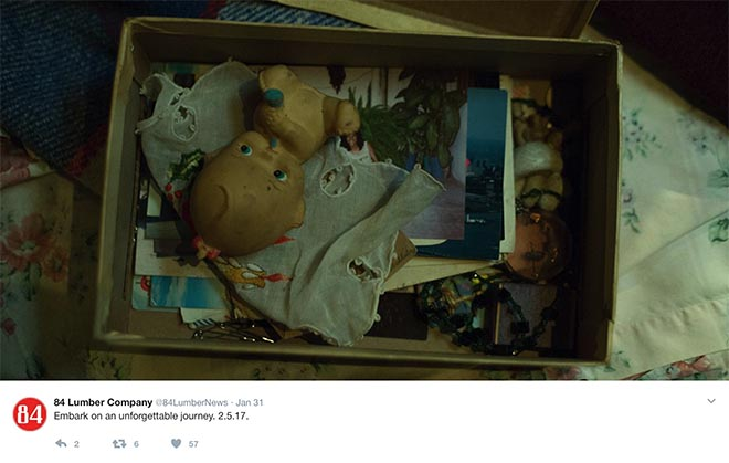 Carton in Twitter promotion for 84 Lumber Journey commercial