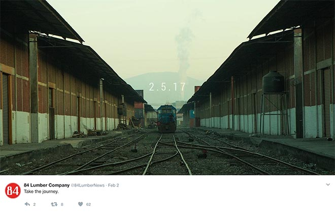 Take the journey - Twitter promotion for 84 Lumber Journey commercial