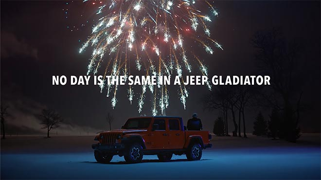 Fireworks in Jeep Groundhog Day commercial