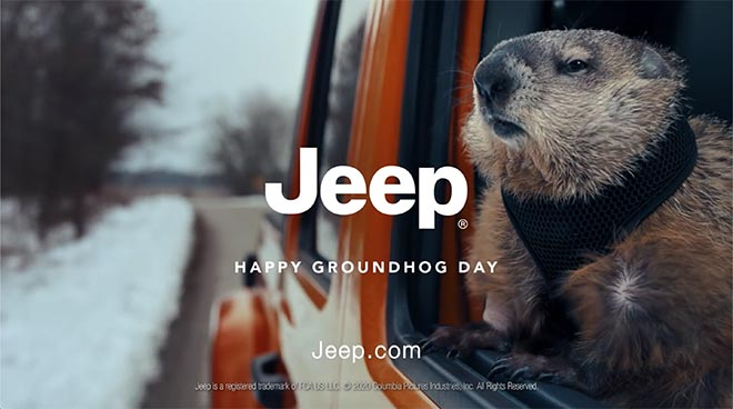 Happy Groundhog Day in Jeep commercial