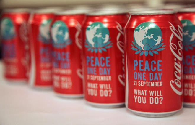 Coca Cola Peace One Day cans
