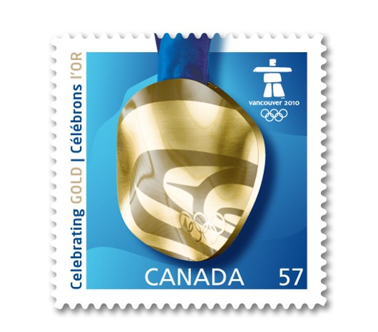 Canada Post Winter Olympics Gold stamp