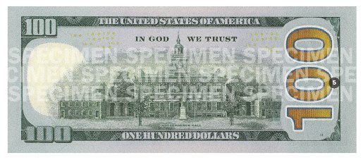 New Hundred Dollar Bill Reverse