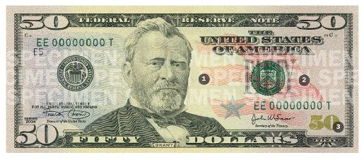 New Fifty Dollar Bill Front