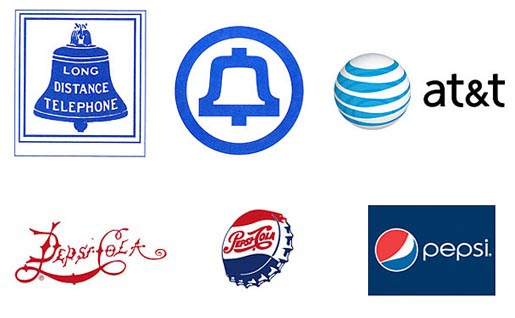 Time Evolution of Logos for AT&T and Pepsi
