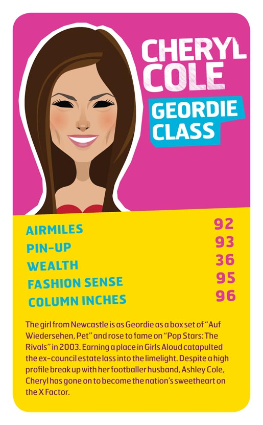 Monarch Cheryl Cole Top Trumps card