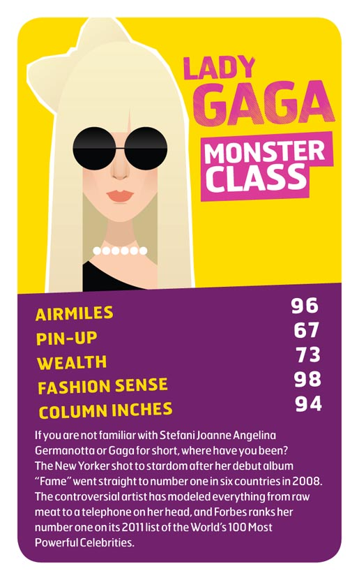 Monarch Lady Gaga Top Trumps card