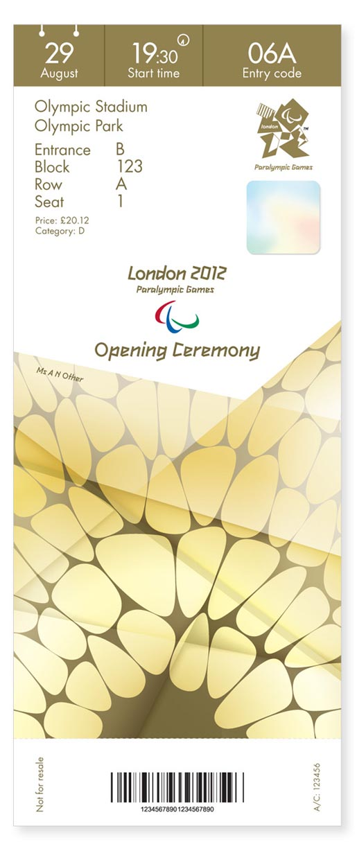 London 2012 Olympics Opening Ticket