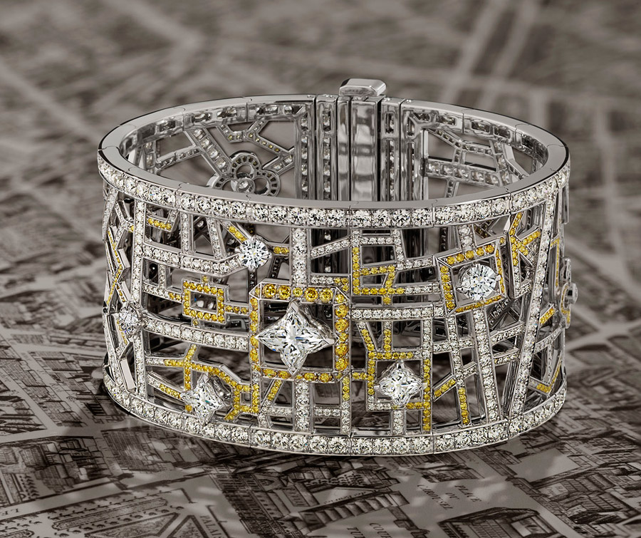 louis vuitton jewelry. placed a map literally picked out in gems, all leading to the place vendôme, represented by large diamond cut into famous vuitton flower shape. louis jewelry