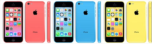 iPhone 5C Pink Blue Yellow