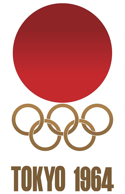 The 1964 Games logo shows a red sun over golden Olympic rings.