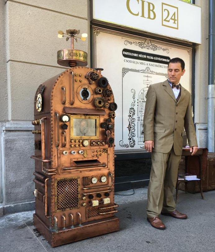 CIB Steampunk ATM with man in suit