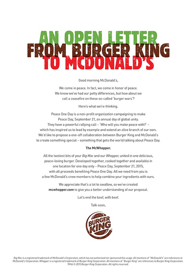 McWhopper Open Letter