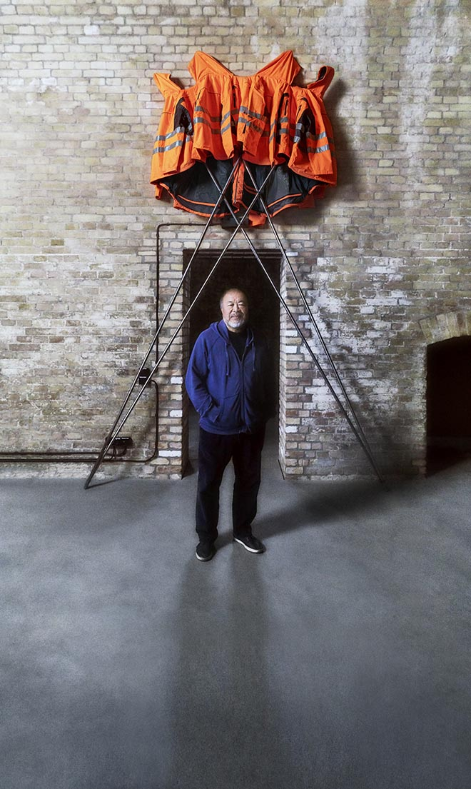 Ai Weiwei in Hornbach Safety Jackets Zipped the Other Way campaign
