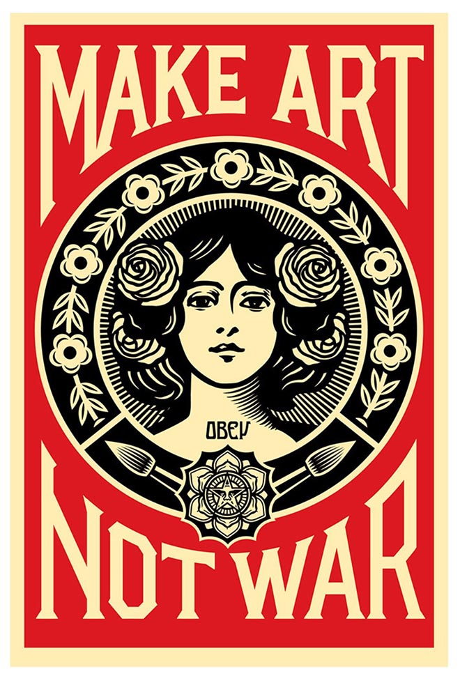 Shepard Fairey poster Make Art not war as featured in Adobe Creativity for All commercial