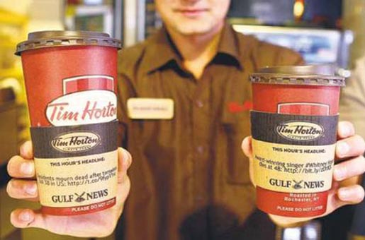 Gulf News Tim Hortons coffee sleeves