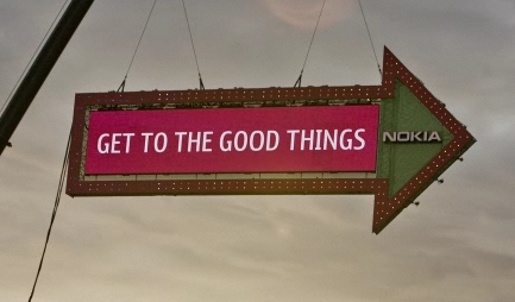 Nokia Get to the Good Things sign