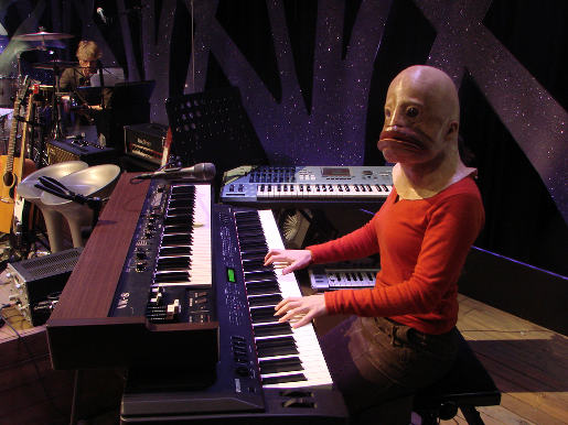 WWF Fishwoman plays keyboard on television