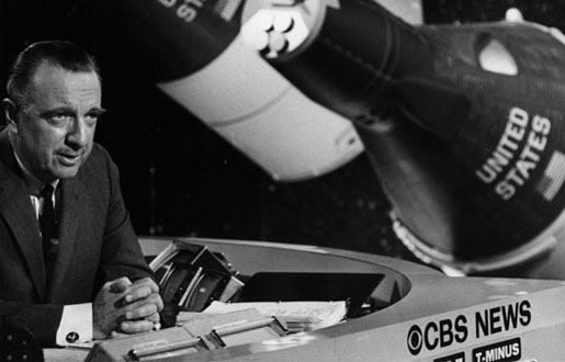 Walter Cronkite on CBS News with Apollo capsules