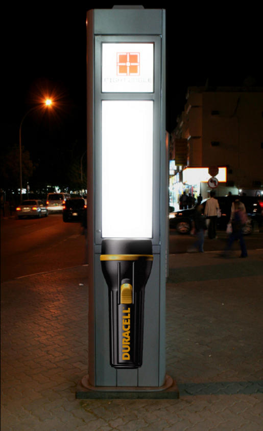 Duracell Torch on Street Light