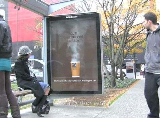 McDonalds Coffee Steam in Vancouver Bus Transit Shelter