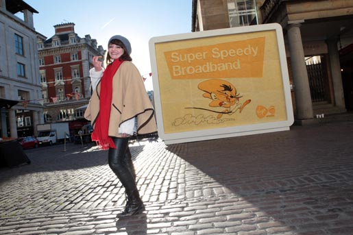 Virgin Media Cheese Billboard with Speedy Gonzales and Prudence Staite