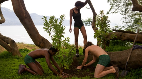 Pact Green Belt underwear wearing models plant a tree