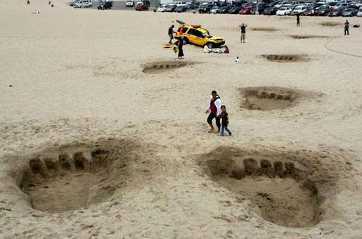 King Kong Footprints on Santa Monica beach