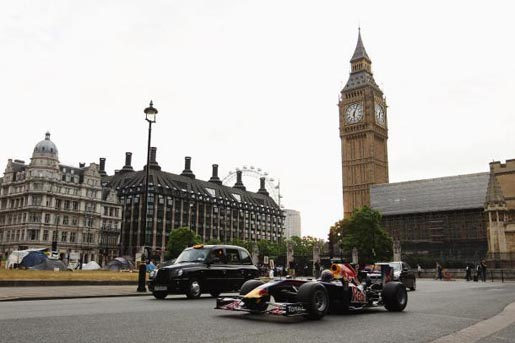 Red Bull F1 driver Mark Webber at Parliament