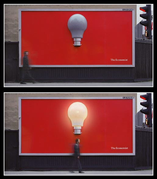 The Economist Light Bulb wall