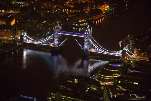 GE EDF Tower Bridge - aerial photo by Jason Hawkes