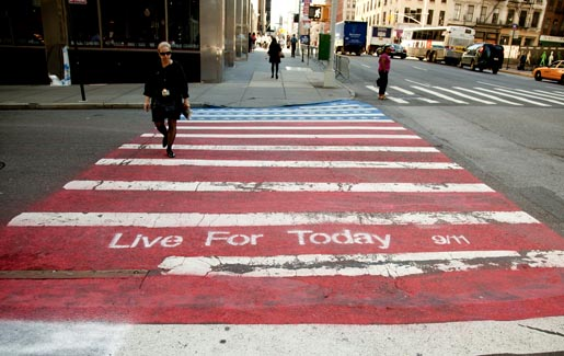 9/11 Live For Today Street Crossing in Financial District, NYC