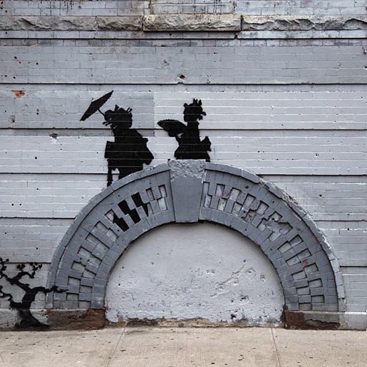 Banksy Bridge Couple
