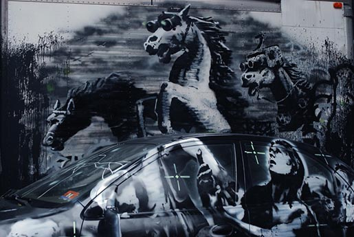 Banksy Installation Horses and Car