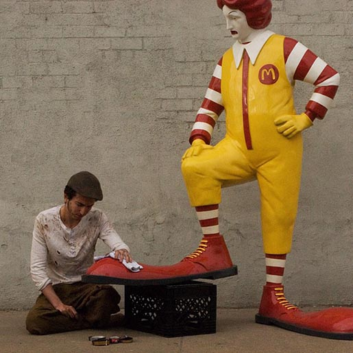 Banksy Installation Ronald McDonald and shoe shiner