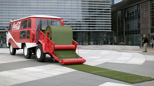 Coca Cola Truck rolls out turf for Happiness Park in Vilnius, Lithuania